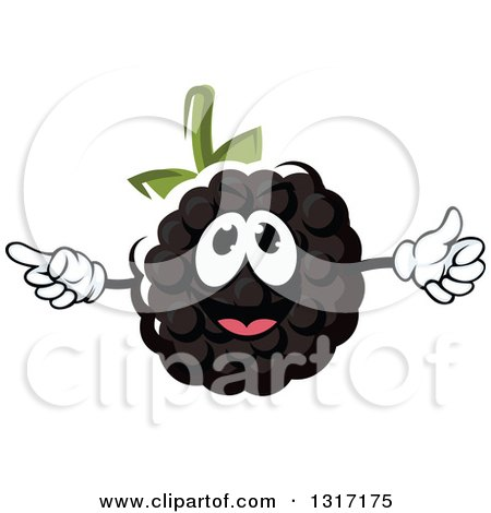 Clipart of a Cartoon Blackberry Character Giving a Thumb up and Pointing - Royalty Free Vector Illustration by Vector Tradition SM