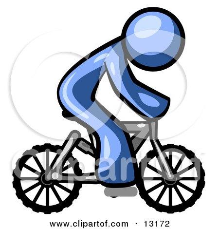 Blue Man Riding a Bicycle Posters, Art Prints