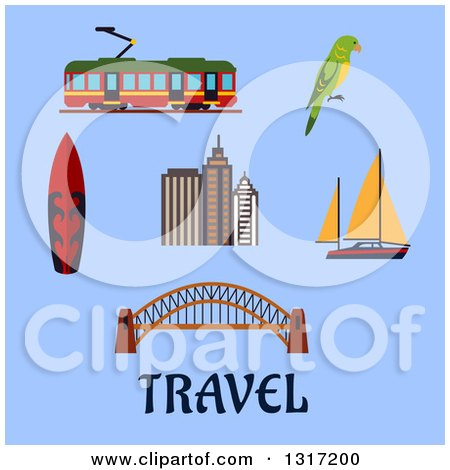 Clipart of a Flat Design Australian Travel Items, Harbour Bridge and Skyscrapers, Yacht and Surfboard, Tram and Eclectus Parrot on Blue with Text - Royalty Free Vector Illustration by Vector Tradition SM