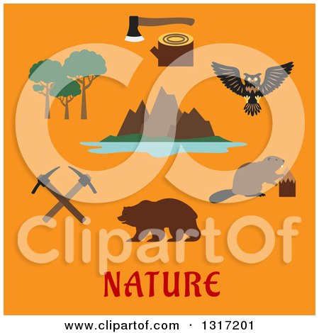 Clipart of a Flat Design Canadian Nature and Travel Symbols Rocky Mountains of the Valley of the Ten Peaks and Moraine Lake, Trees, Axe on Stump, Owl, Beaver, Bear and Crossed Picks over Text on Orange - Royalty Free Vector Illustration by Vector Tradition SM