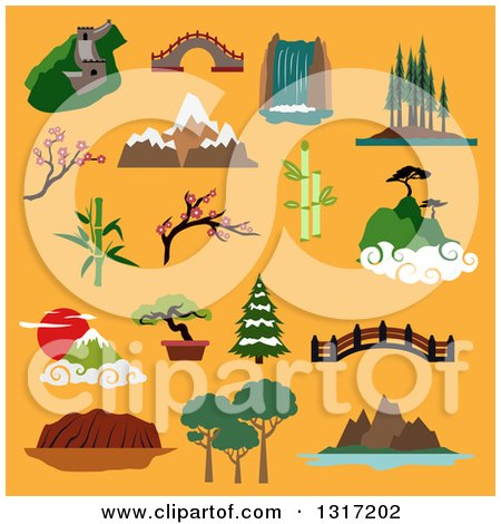 Clipart of Flat Design Famous Landscapes and Buildings of China, Japan, Canada, USA, Australia with Great Wall, Ancient Bridges, Waterfall, Trees of Rainforest, Mountains, Blooming Sakura, Bamboo, on Orange - Royalty Free Vector Illustration by Vector Tradition SM