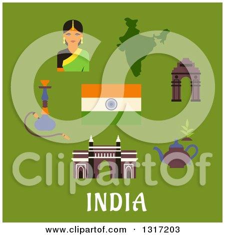 Flat Design Indian Culture And Travel Landmarks Woman National Flag Pot Of Tea