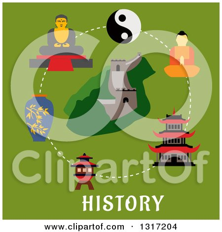 Clipart of a Flat Design of the Chinese Wall and Historical Landmarks over Text on Green - Royalty Free Vector Illustration by Vector Tradition SM
