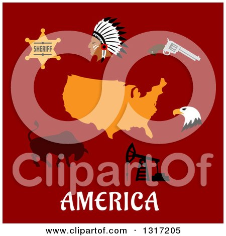 Clipart of a Flat Design American Map, Sheriff Star, Indian Chief, Revolver, Bald Eagle, Pump Jack and Bull on Red with Text - Royalty Free Vector Illustration by Vector Tradition SM