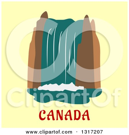 Clipart of a Flat Design of Niagara Falls over Canada Text on Yellow - Royalty Free Vector Illustration by Vector Tradition SM