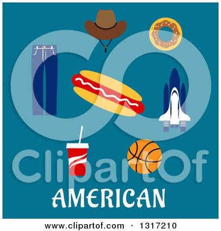 Clipart of a Flat Design of American Text with a Cowboy Hat, Donut, Rocket, Hot Dog, Basketball, Soda and Jeans on Blue - Royalty Free Vector Illustration by Vector Tradition SM