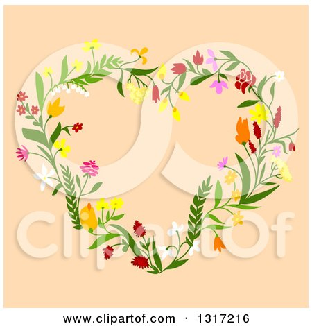 Clipart of a Floral Heart on Tan - Royalty Free Vector Illustration by Vector Tradition SM