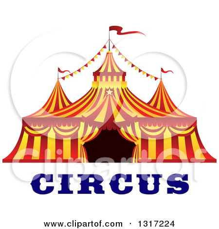 Clipart of a Red and Yellow Big Top Circus Tent over Text - Royalty Free Vector Illustration by Vector Tradition SM