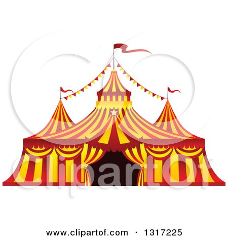 Clipart of a Red and Yellow Big Top Circus Tent - Royalty Free Vector Illustration by Vector Tradition SM