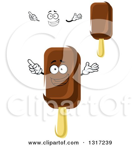 Clipart of a Cartoon Face, Hands and Fudge Popsicles - Royalty Free Vector Illustration by Vector Tradition SM