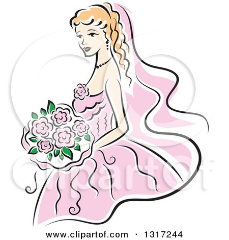 Clipart of a Sketched Blond Caucasian Bride in a Pink Dress, Holding a Bouquet of Flowers - Royalty Free Vector Illustration by Vector Tradition SM