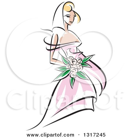 Clipart of a Sketched Blond Caucasian Bride in a Pink Dress, Holding a Bouquet of Flowers 2 - Royalty Free Vector Illustration by Vector Tradition SM