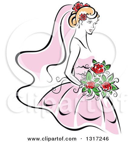 Clipart of a Sketched Blond Caucasian Bride in a Pink Dress, Holding a Bouquet of Red Flowers 4 - Royalty Free Vector Illustration by Vector Tradition SM