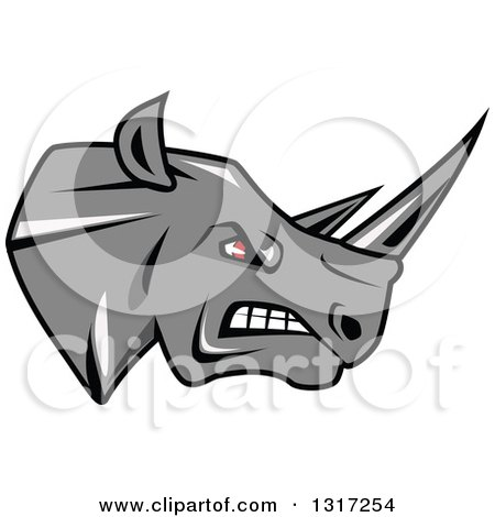 Fierce Gray Rhino with Red Eyes, Facing Right 2 Posters, Art Prints