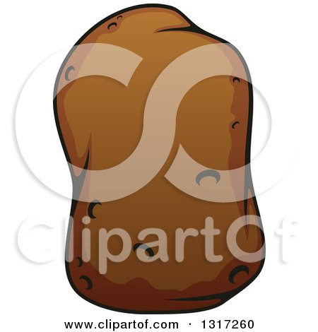 Clipart of a Cartoon Russet Potato - Royalty Free Vector Illustration by Vector Tradition SM