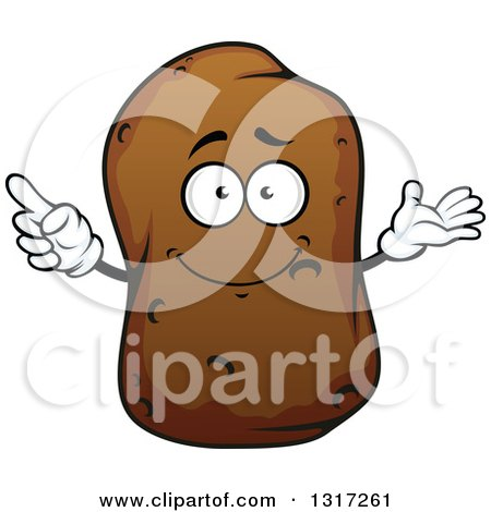 Clipart of a Cartoon Russet Potato Character Presenting and Pointing - Royalty Free Vector Illustration by Vector Tradition SM