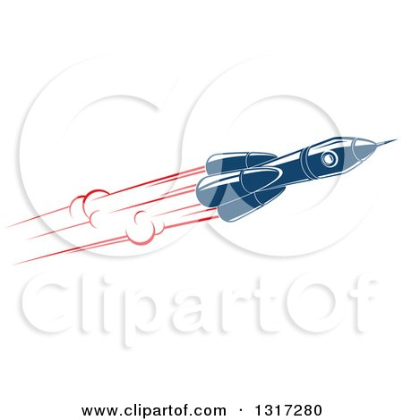 Clipart of a Retro Blue Rocket with Red Flames 15 - Royalty Free Vector Illustration by Vector Tradition SM
