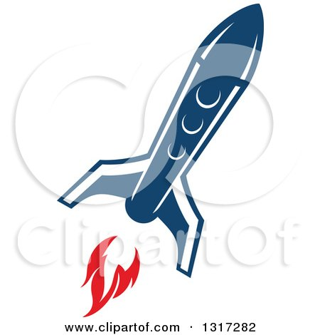 Clipart of a Retro Blue Rocket with Red Flames 17 - Royalty Free Vector Illustration by Vector Tradition SM