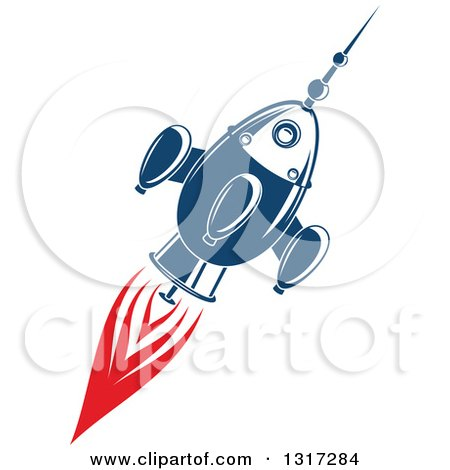 Clipart of a Retro Blue Rocket with Red Flames 3 - Royalty Free Vector Illustration by Vector Tradition SM