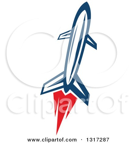 Clipart of a Retro Blue Rocket with Red Flames 6 - Royalty Free Vector Illustration by Vector Tradition SM