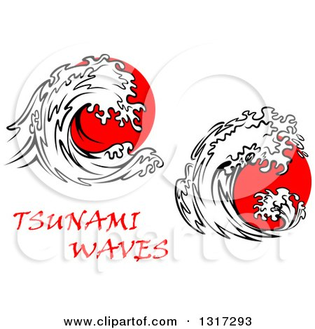 Clipart of Black and White Tsunami Waves over Red ...
