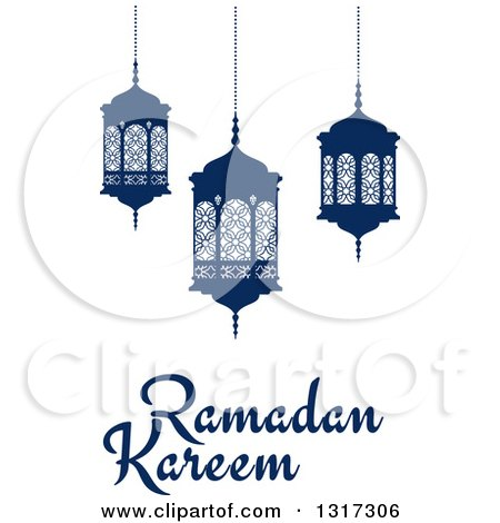 Clipart of a Ramadan Kareem Greeting with Blue Lanterns - Royalty Free Vector Illustration by Vector Tradition SM