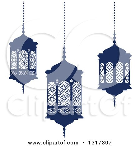 Clipart of Navy Blue Ramadan Kareem Lanterns - Royalty Free Vector Illustration by Vector Tradition SM