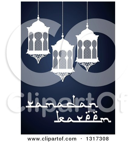 Clipart of a Ramadan Kareem Greeting with Lanterns on Blue - Royalty Free Vector Illustration by Vector Tradition SM