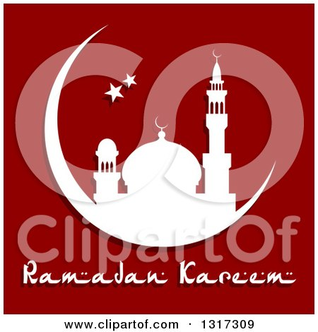 Clipart of a White Silhouetted Mosque in a Crescent Moon with Stars and Ramadan Kareem Text for Muslim Holy Month over Red - Royalty Free Vector Illustration by Vector Tradition SM
