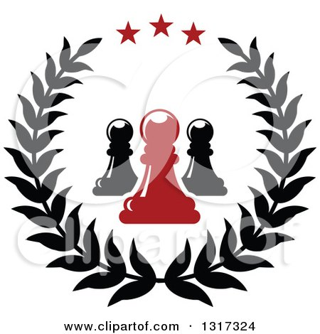 Clipart of a Laurel and Star Wreath with Black and Red Chess Pawn Pieces - Royalty Free Vector Illustration by Vector Tradition SM
