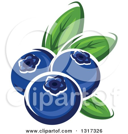 Clipart of Cartoon Blueberries with Leaves - Royalty Free Vector Illustration by Vector Tradition SM