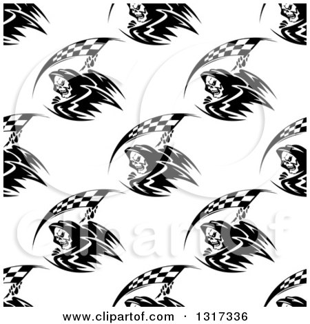 Clipart of a Seamless Background Pattern of Black and White Grim Reapers with Racing Flag Scythes - Royalty Free Vector Illustration by Vector Tradition SM