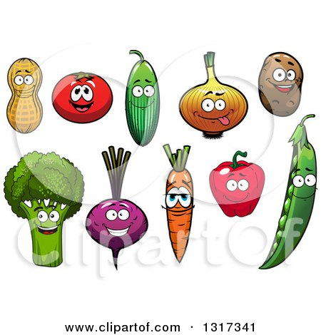 Clipart of Cartoon Peanut, Tomato, Cucumber, Onion, Potato, Broccoli, Beet, Carrot, Bell Pepper and Pea Characters - Royalty Free Vector Illustration by Vector Tradition SM