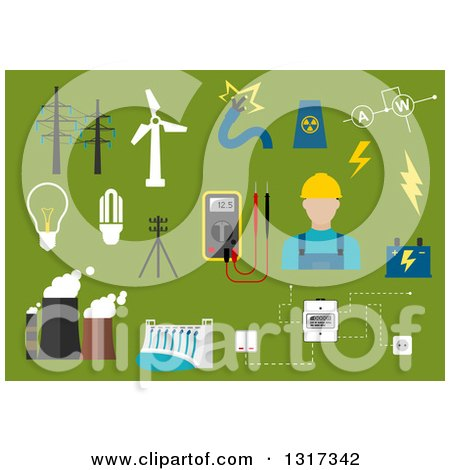 Clipart of a Flat Design Male Electrician with Energy Items on Green - Royalty Free Vector Illustration by Vector Tradition SM