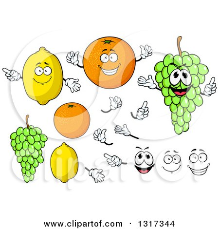 Clipart of Cartoon Lemon, Orange, Green Grapes, Faces and Hands - Royalty Free Vector Illustration by Vector Tradition SM