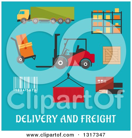 Clipart of a Flat Design Delivery and Freight Truck, Crate, Barcode, Container, Shelving, Loader and Wooden Box with Text on Blue - Royalty Free Vector Illustration by Vector Tradition SM