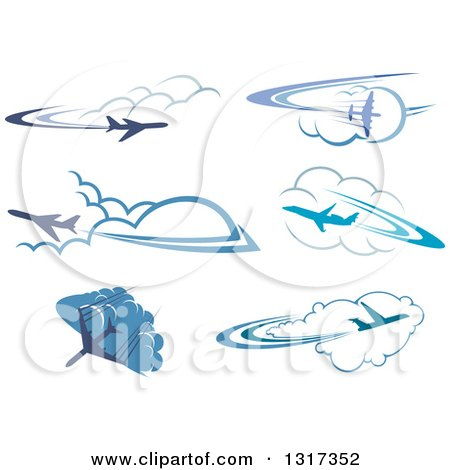 Clipart of Blue Airplanes Flying over Clouds 4 - Royalty Free Vector Illustration by Vector Tradition SM