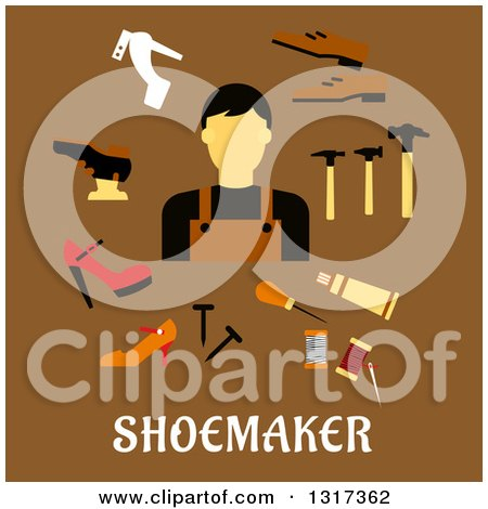 Clipart of a Flat Design Shoe Maker with Tools over Text on Brown - Royalty Free Vector Illustration by Vector Tradition SM