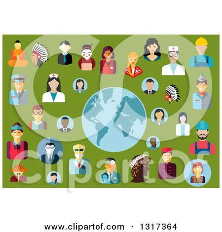 Clipart of Flat Design Occupational People Avatars Around a Globe on Green - Royalty Free Vector Illustration by Vector Tradition SM