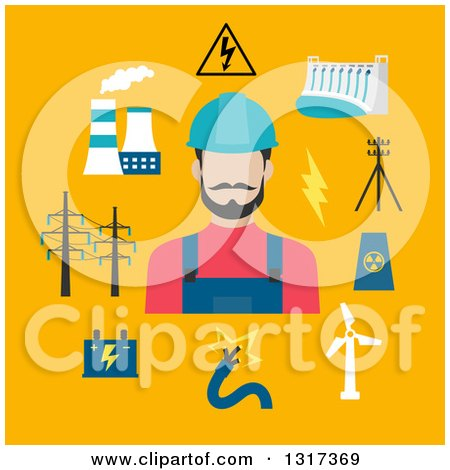 Clipart of a Flat Design Electrician with Energy Items on Yellow - Royalty Free Vector Illustration by Vector Tradition SM