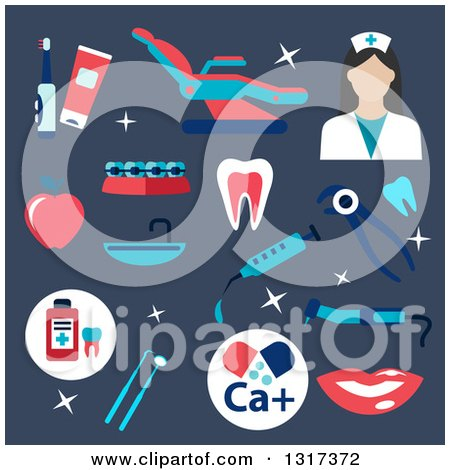 Clipart of a Flat Design Female Dentist with Tools on Blue - Royalty Free Vector Illustration by Vector Tradition SM