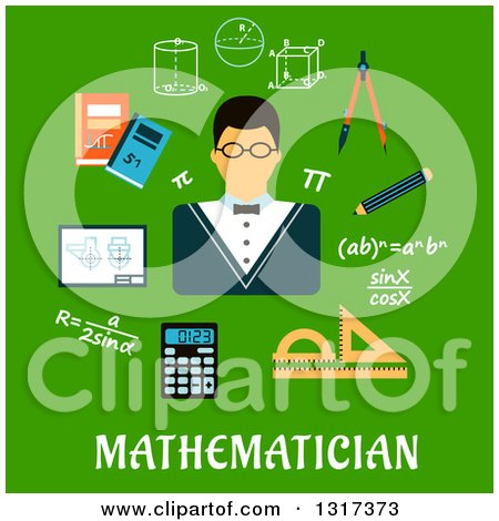 Clipart of a Flat Design Mathematician Encircled by Formulas, Calculator, Rulers, Compasses, Pencil, Textbooks, Drawing and Geometric Figures over Text on Green - Royalty Free Vector Illustration by Vector Tradition SM