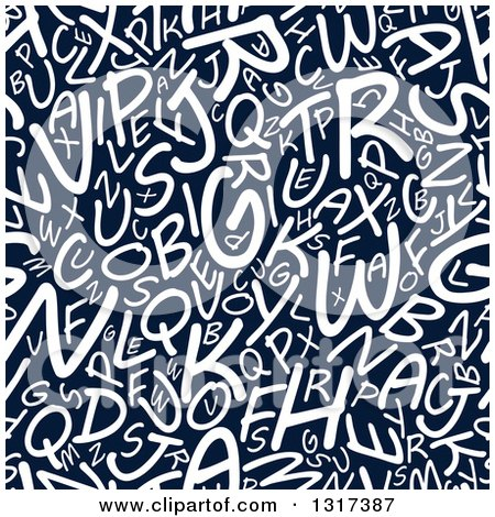 Clipart of a Seamless Background Pattern of White Capital Letters on Navy Blue - Royalty Free Vector Illustration by Vector Tradition SM
