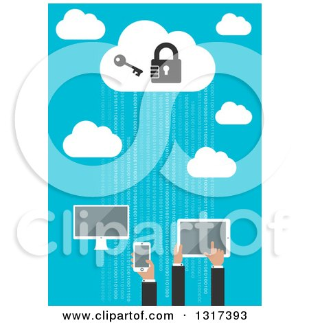Clipart of Flat Design Cloud Server with People Using a Computer, Tablet and Smart Phone - Royalty Free Vector Illustration by Vector Tradition SM