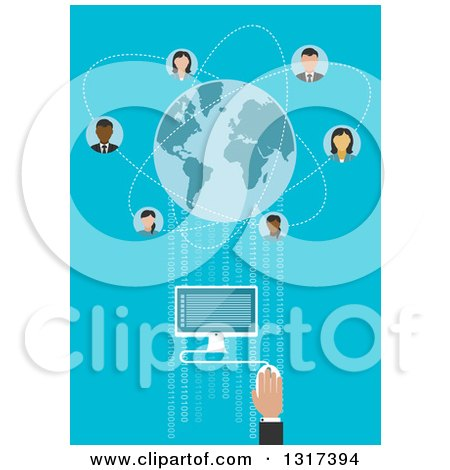 Clipart of a Global Communication Businessman Using a Desktop Computer Connecting to Partners Worldwide with Blue Globe Surrounded Avatars - Royalty Free Vector Illustration by Vector Tradition SM