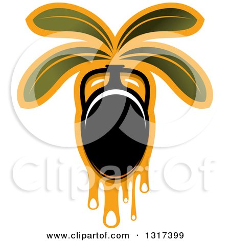 Clipart of a Black Olive with Dripping Oil and Leaves - Royalty Free Vector Illustration by Vector Tradition SM