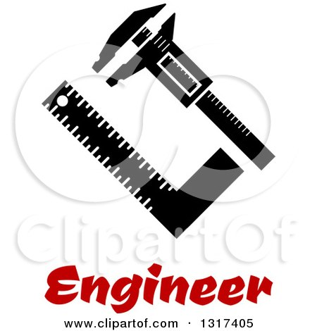 Clipart of Vernier Caliper and Sets Quare Measurement Tools with Scale over Text - Royalty Free Vector Illustration by Vector Tradition SM