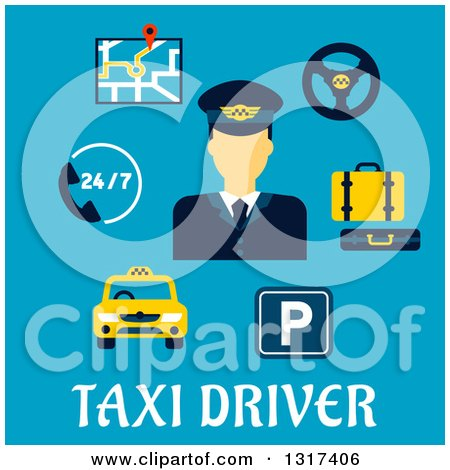 Clipart of a Flat Design Taxi Driver and Items with Text on Blue - Royalty Free Vector Illustration by Vector Tradition SM