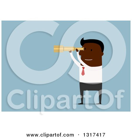 Clipart of a Flat Design Black Businessman Viewing Through a Telescope, over Blue - Royalty Free Vector Illustration by Vector Tradition SM