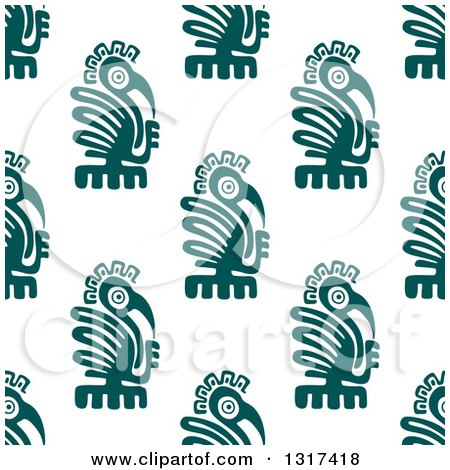 Clipart of a Seamless Background Pattern of Teal Mayan Eagles - Royalty Free Vector Illustration by Vector Tradition SM